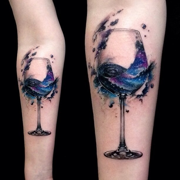 Wine glass graphic tattoo on inner forearm by Vlad Tokmenin