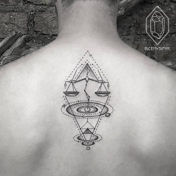 Geometric Libra Tattoo by Bicem Sinik