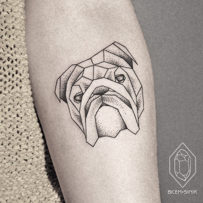 Geometric Buldog Tattoo by Bicem Sinik