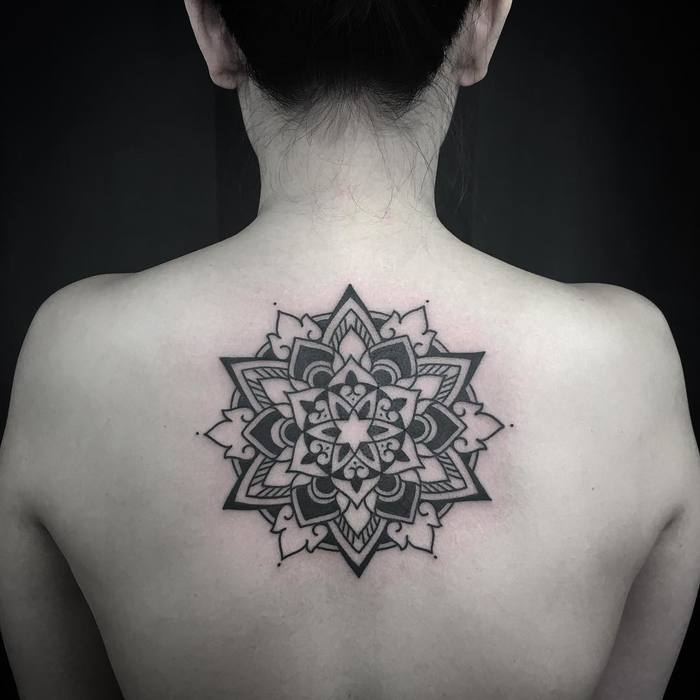 Mandala tattoo on back by Luciano LCN
