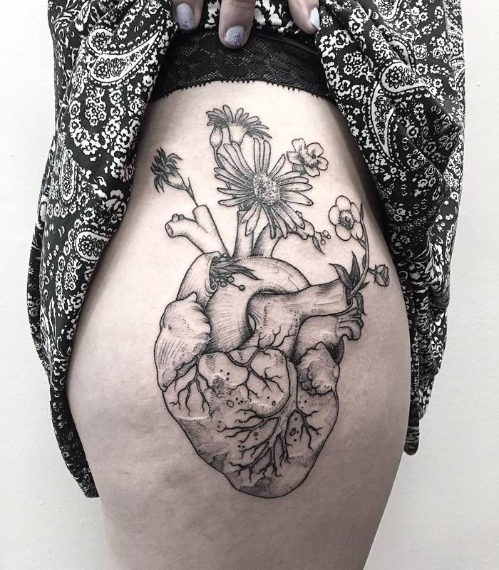 Anatomical Heart Tattoo with Wild Flowers by Michael George Pecherle