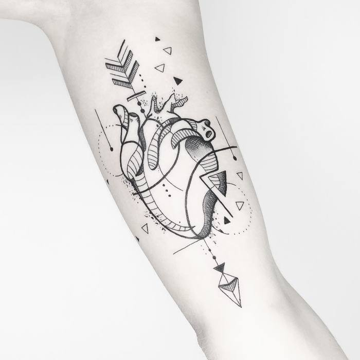 Abstract Anatomical Heart Tattoo by susboom_tattoo