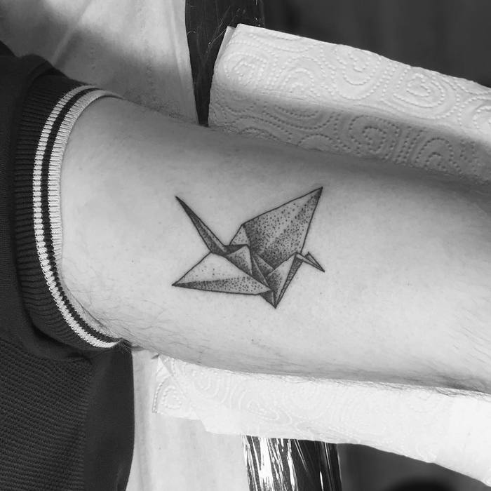 Dotwork Paper Crane Tattoo by tomtomtatts
