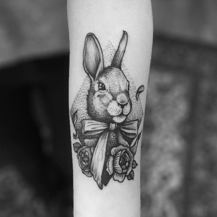 Dotwork Rabbit with Flowers by tomtomtatts