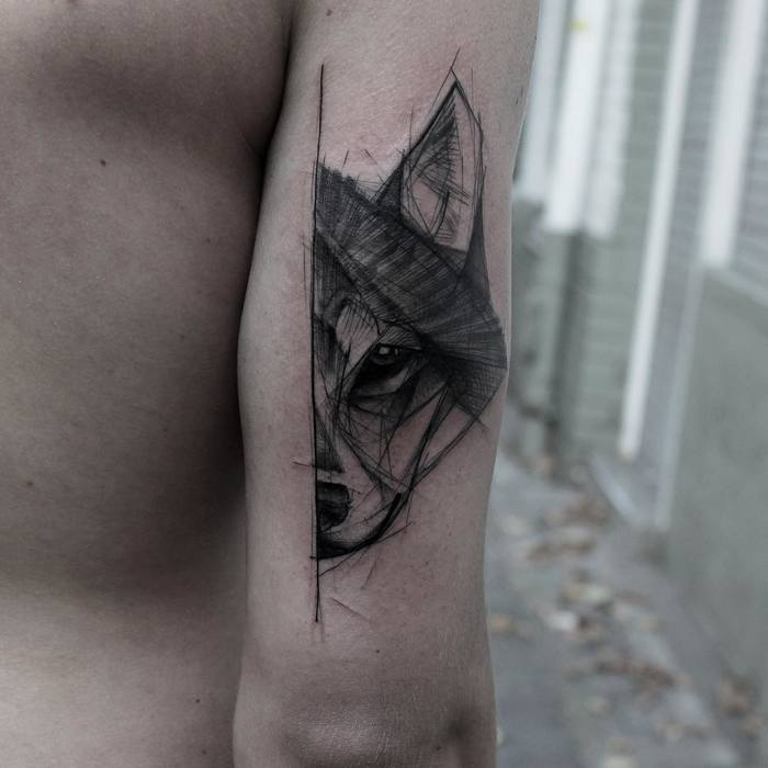 Half Wolf Tattoo by kamilmokot