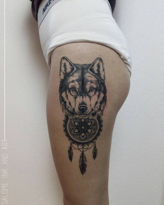 Wolf and Dreamcatcher Tattoo by Salome Trujillo