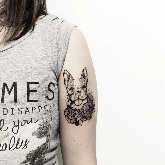 French Bulldog Tattoo by Fer Solley