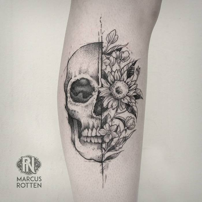 Skull Tattoo by marcusrotten