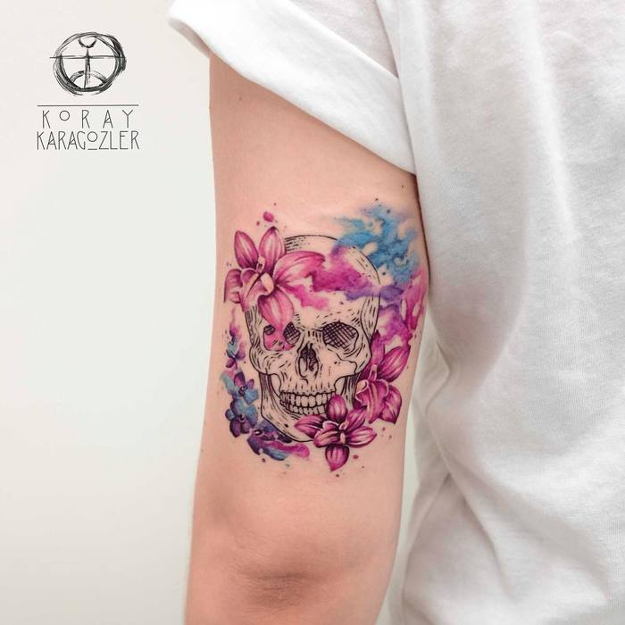 Skull Tattoo and Orchids by koray_karagozler