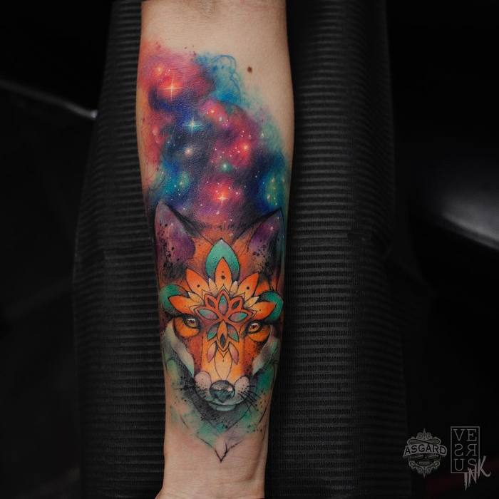 Cosmic Fox Tattoo by versusink