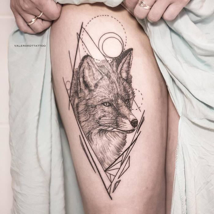 Black and Grey Fox with Geometric Elements by valerakottattoo