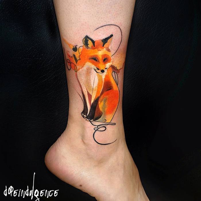 Watercolor Fox on Ankle by dopeindulgence