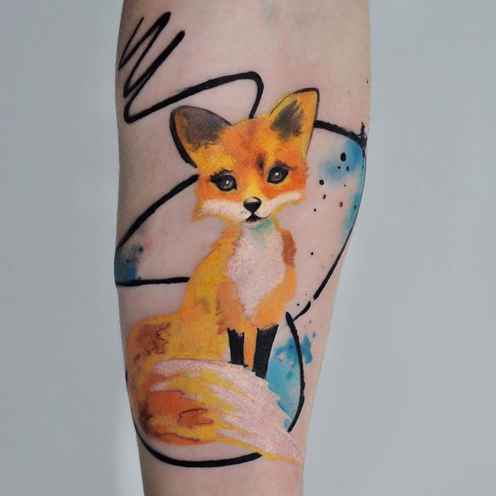 Colored Fox Tattoo by dopeindulgence
