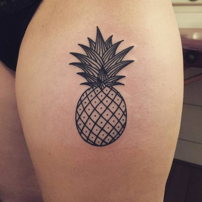 Linework Pineapple Tattoo by boshyboshe