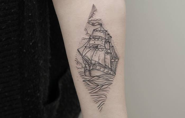 Linework and Dotwork Ship Tattoo by phoebejhunter