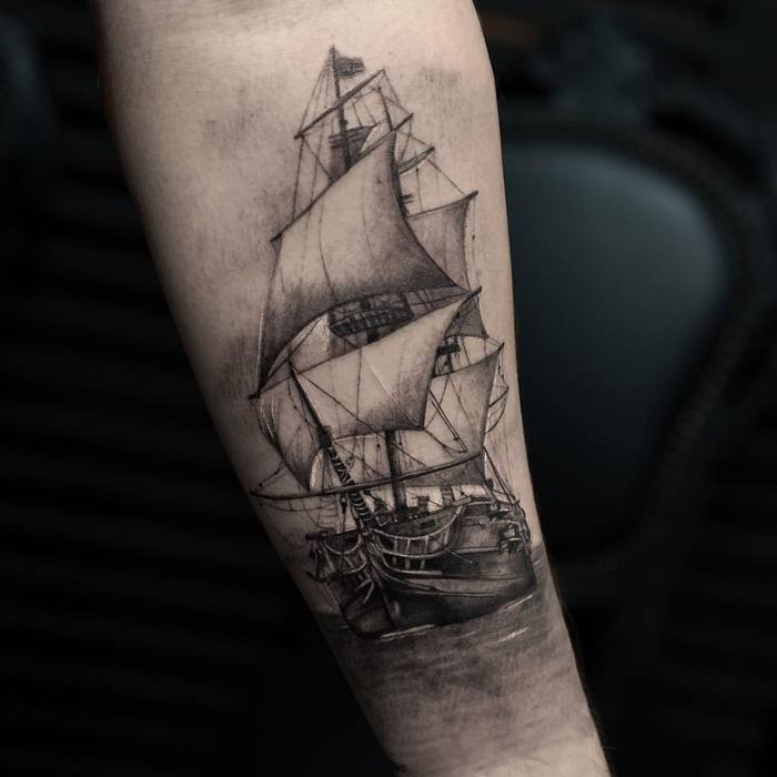 Black and Grey Ship Tattoo by turan.art