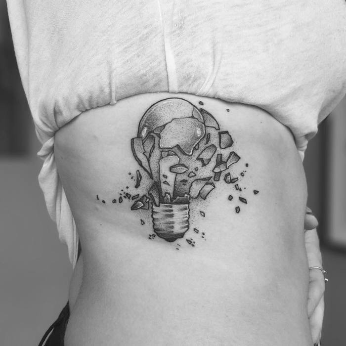 Shuttered Light Bulb Tattoo by tomtomtatts