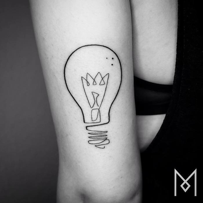 Single Line Light Bulb Tattoo by moganji