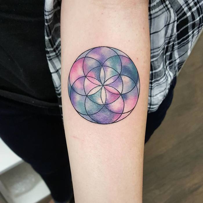 Watercolour Flower of Life Tattoo by jemkatattooart