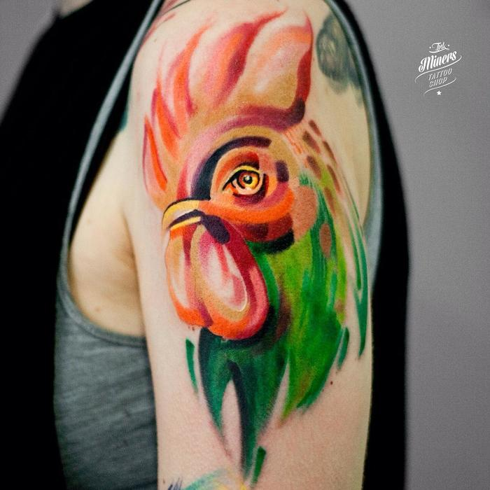 Colored Half Sleeve Rooster Tattoo by magdalena_bujak