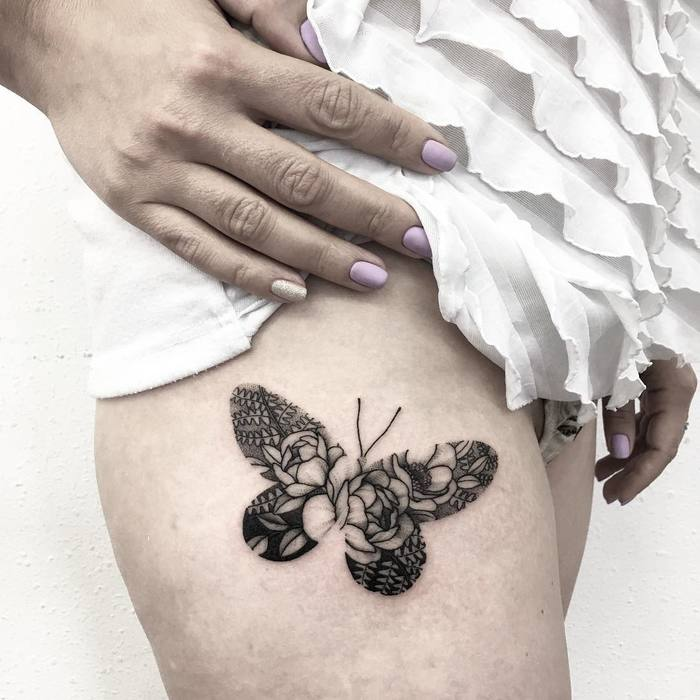 Floral Butterfly Tattoo on Thigh by v.shevchenkottt