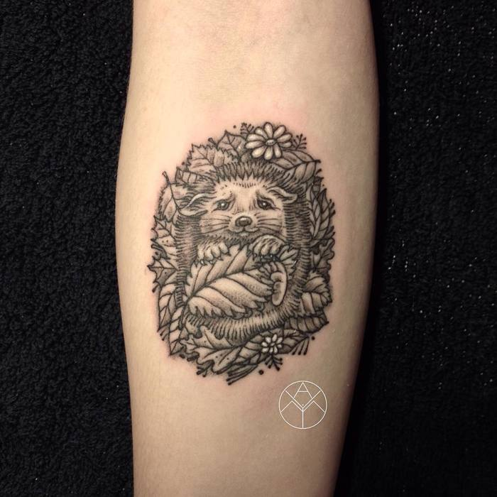 Hedgehog Tattoo by yamitattoo