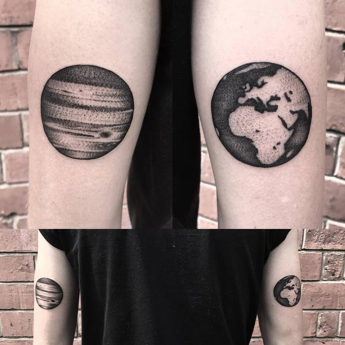 Jupiter and Earth Tattoo by andyjctattoo